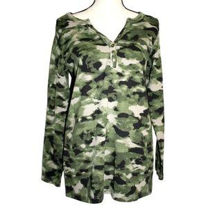 Roamans Womens Large Green Camo Blouse Long Sleeve